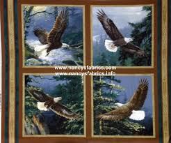 All He Surveys Eagle Fabric Panel, set of 4 pillow panels Pricing ... & 4 Eagle Cushion Panels Cotton Quilting Fabric - Wild Wings All He Surveys Adamdwight.com