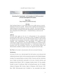 assessing the assessment an evaluation of a self assessment of class