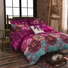 home garden home textile bedding bedding sets national bohemia recto prune reversible duvet cover bed sheet with pillowcase boho mandala