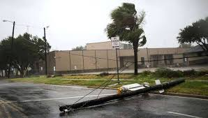 houston lighting and power outages pole lays middle street hurricane landfall i s client co