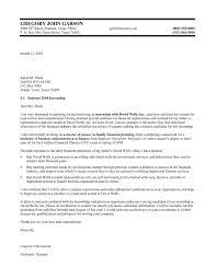 finance internship cover letter