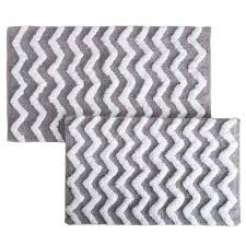 chevron silver 24 5 in x 41 in 2 piece bathroom mat set