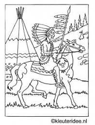 Kleurplaat Indiaan Op Paard Kleuterideenl Kolorowanki