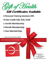 Holiday Gift Certificates Holiday Gift Certificates Life Transformations