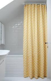 all white subway tile yellow chevron shower curtain