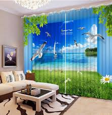 Grün Chrysantheme Seaview 3d Vorhänge Rot Blumen Herz Für Wohnzimmer