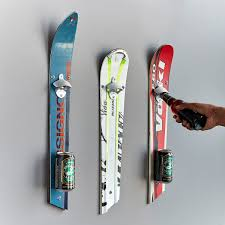 wall mounted recycled ski bottle opener ski gifts ski decor unmongoods