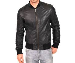 men s black faux leather jacket with cotton ribbed trim