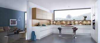 Decorations:Cozy Modern Kitchen With L Shaped Cabinets In White Tone With  Single Island On
