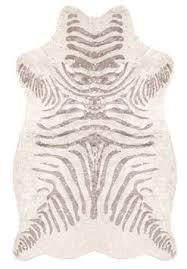 silver metallic faux zebra hide rug