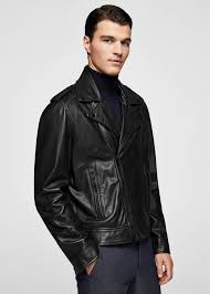mango zip detail leather biker jacket black ref