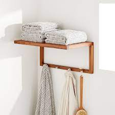 Kirana Teak Towel Rack With Hooks Bathroom