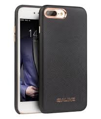 iphone 7 plus cross pattern leather case with golden eyelet ons black color