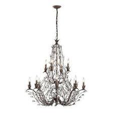 sagemore 12 light bronze rust chandelier