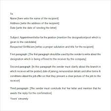 Samples Of Appointment Letter For An Employee Appointment Letter 7 Free Samples Examples Format