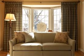 window treatment ideas for bay windows tan quenilda ticking pillow cream  couch straight curtain rod antique