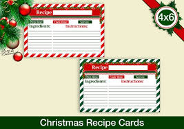 Christmas Recipe Card Christmas Recipe Cards 4x6 Recipe Cards Printable Recipe Etsy