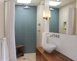 bathroom glass tile shower. minimalist blue tile and glass bathroom photo in los angeles with a vessel sink shower