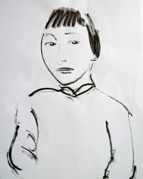 abstract drawing saatchi art abstract drawing portrait of a chinese girl 01