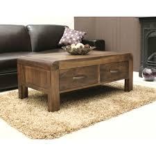Walnut Living Room Furniture Shiro Coffee Table Four Drawer Storage Solid Walnut Dark Wood