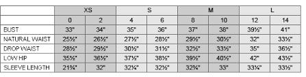 T Tahari Size Chart Tahari Size Guide
