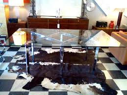 glass dining table base. Glass Dining Table W/ Chrome Base | Cool Stuff Houston Mid Century Modern Furniture