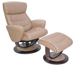 Tetra II Pedestal Recliner And Ottoman Set In Beige LeatherVinyl - Swivel recliner chairs for living room 2