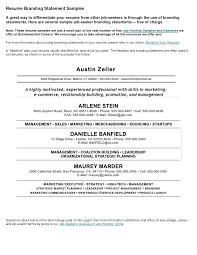 Resume Branding Statement Examples