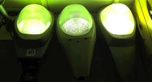 mercury vapor lamps illuminating