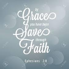 Par La Grâce Vous Avez été Sauvé Par La Foi Dephésiens Typographie De Citation De Bible
