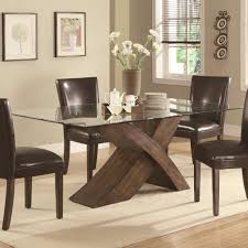 ... Dining Tables, Charming Brown Rectangle Modern Wooden Glass Top Dining  Table Set Stained Ideas: ...