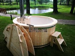 wooden hot tubs 6 8 persons with snorkel wood burner