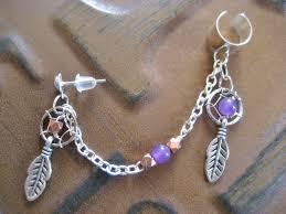 Dream Catcher Helix Earring Dream Catcher Ear Cuff Chain Amethyst Copper Dreamcatcher Feather 58