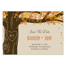 Oak Tree Fall Wedding Save The Date Card Invitations