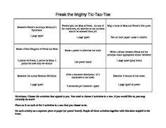 freak the mighty tic tac toe tic tac toe board toe board and  freak the mighty tic tac toe activity board