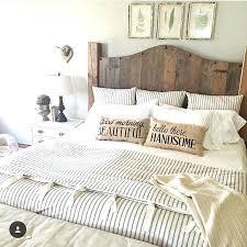 Master Bedroom Bedding Ticking Stripe Bedding Farmhouse Bedding Duvet Wood  Headboard Intended For Rustic Master Bedroom