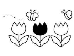 チューリップと蝶々の白黒イラスト かわいい無料の白黒イラスト モノぽっと