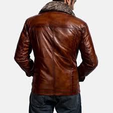 evan hart fur brown leather jacket