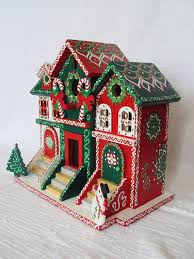 Handpainted Christmas Birdhouse/Brownstone by SingingTrees on Etsy