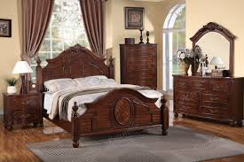Natural Cherry Bedroom Furniture Bedframe Covered In Natural Cherry Wood Finish Cal King Size Bed