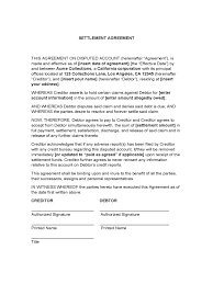 Debt Settlement Agreement Form 3 Free Templates In Pdf Word