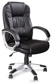 office leather chair. Ergonomic Office Faux Leather Chair Hydraulic Seat Black Transitional Officechairs