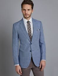 Grey Light Blue Suit Mens Light Blue Check Linen Cotton Blend Slim Fit Jacket