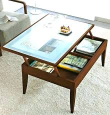 flip coffee table up top glass with pull out drawer