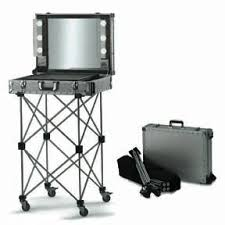 lighted makeup mirror on deluxe studio portable station