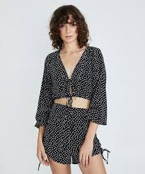 New General Pants Don't Ask Amanda Coby Tie Up Top Polka | eBay