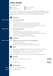 Free Job Resume Template Concept Classic Blue Navy Online Samples