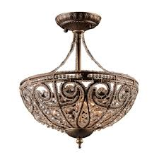 elizabethan 3 light dark bronze ceiling semi flush mount light