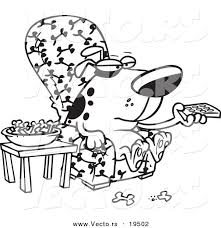watching tv clipart black and white. cartoon dog munching on bones and watching tv clipart black white w