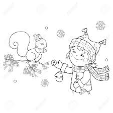 リスの餌をやるページ概要の少女のぬりえ冬野生動物子供のための塗り絵